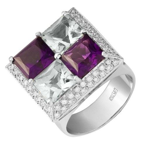 Кольцо иззолота снатуральными камнями ибриллиантом (57 гр.)