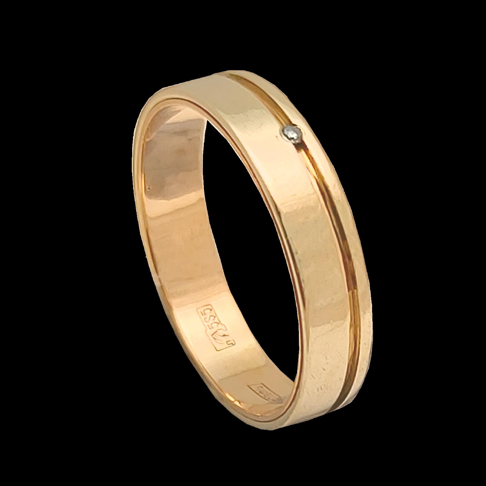 Кольцо обручальное иззолота сбриллиантом (57 гр.)